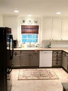 house tour beige kitchen taupe and two toned cabinets With beige and taupe kitchen