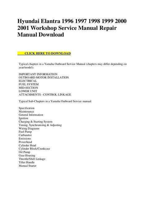 free service manuals online 1998 honda civic spare parts catalogs hyundai elantra 1996 1997 1998 1999 2000 2001 workshop service manual