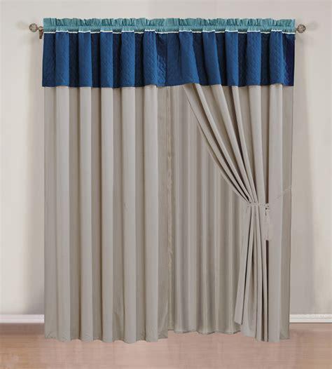 navy beige curtain set w valance sheer tassels