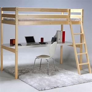 Lit 1 Place Mezzanine : lit mezzanine 1 place avec bureau 90x190cm aspen d coration int rieur alin a ~ Melissatoandfro.com Idées de Décoration