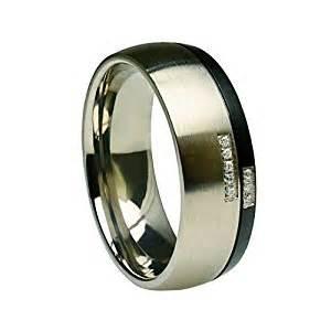 black metal engagement rings titanium black gun metal split with 8 cut cubic zirconia 8mm wedding band