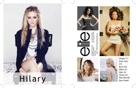 model comp card template hilary duff comp card