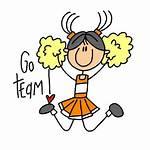 Cheerleader Clipart Stick Orange Clip Football Team