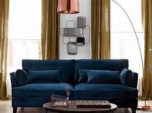 Canapé Velours Bleu Canard : photos canap velours bleu ~ Teatrodelosmanantiales.com Idées de Décoration