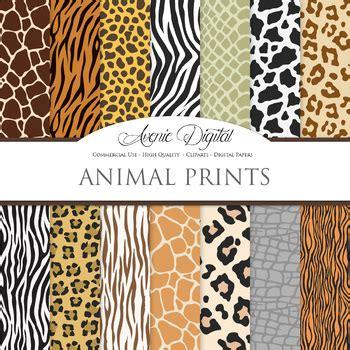 animal prints digital paper pattern safari scrapbook
