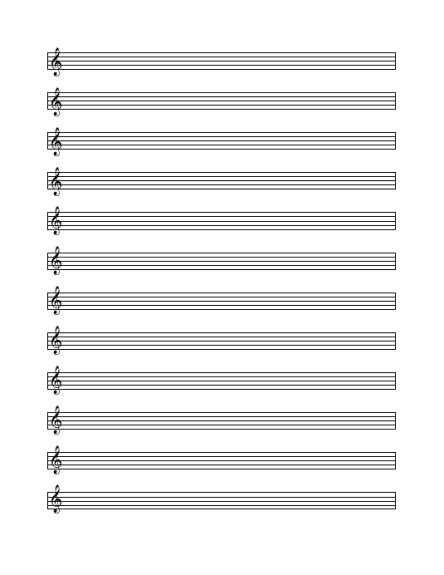 Treble Staff Paper Template by Treble Cleff Staff Paper 12 Per Page