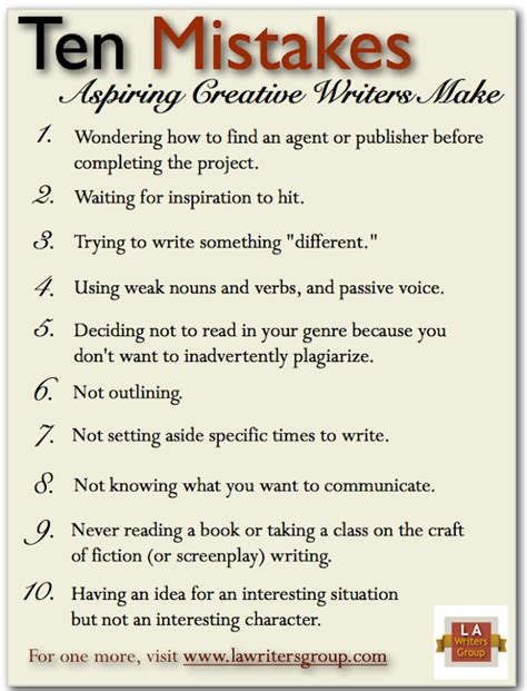10 Mistakes Aspiring Creative Writers Make  Writers And Authors