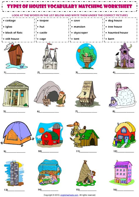 what are the names of the two houses of congress home house types vocabulary matching exercise worksheet