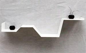 étagères Murales Design : etag re murale zig tag re murale design blanche m tal salon ~ Teatrodelosmanantiales.com Idées de Décoration