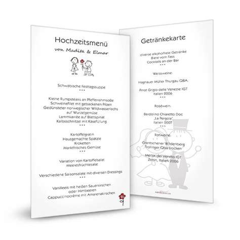 menuekarte zur hochzeit mit comic brautpaar im modernen
