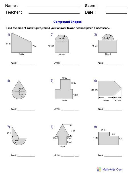 area  compound shapes adding regions worksheets