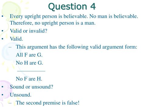 question validity soundness exercises ppt powerpoint presentation additional invalid valid