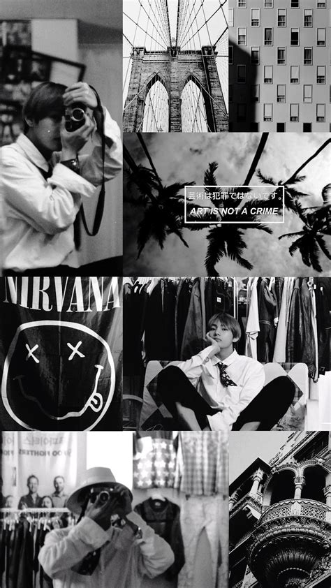 bts black and white aesthetic wallpapers