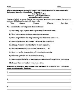 Commas, Sentencecombining, And Contractions 3 Worksheets By Tasha P