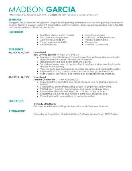 Sles Of Receptionist Resumes by Receptionist Resume Exle Receptionist Hub