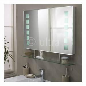 miroir eclairant de salle de bains avec etagere 610 x 8 With miroir salle de bain avec heure