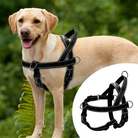 nylon reflective  pull large dog harness quick fit pet
