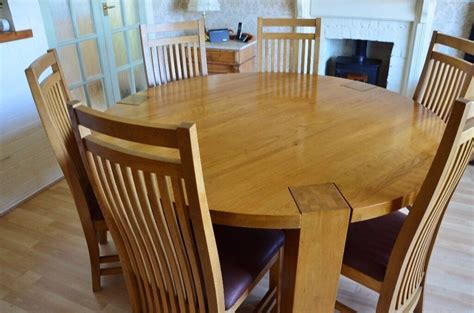solid oak large  dining table   chairs