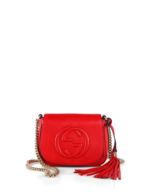 lyst gucci soho leather chain shoulder bag  red