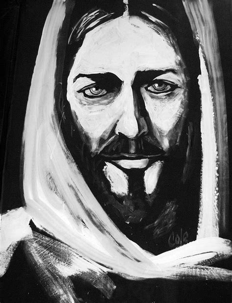 Abstract Jesus Black And White by Of Painting By Larry Cole