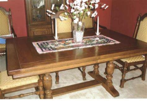 ethan allen dark solid oak dining room set pedestal table