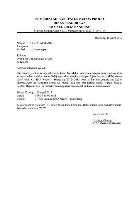 contoh surat resmi bahasa sunda dari sekolah