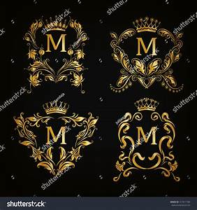 Set Gold Monogram Graphic Design On Stock Vector 317011784 ...