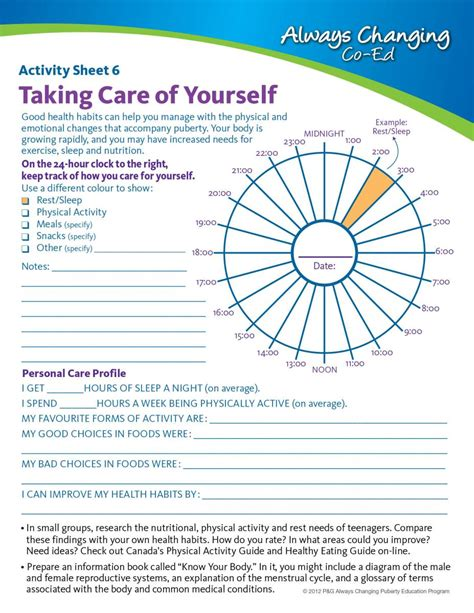 personal hygiene worksheets for middle school the large