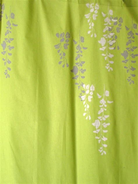 Lime Green Shower Curtains lime green curtain with wisteria print