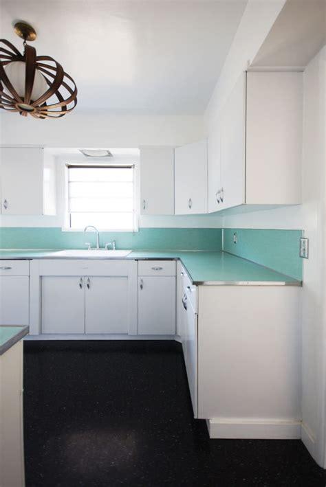 turquoise countertop linoleum  light fixture