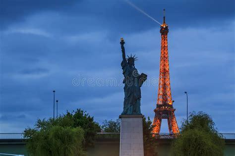 paris  night eiffel tower  statue  liberty