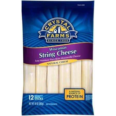 pacote de queijo em tirinhas da marca Crystal Farms