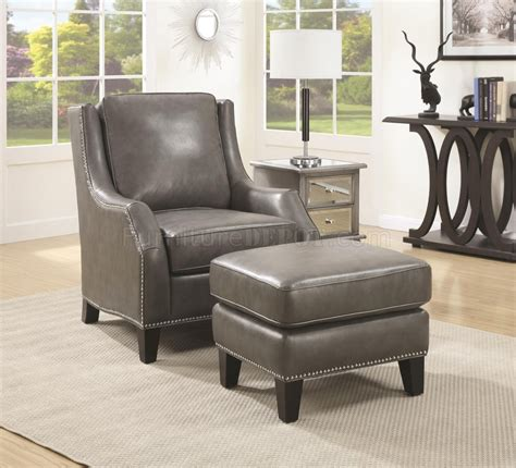 accent chair wottoman  grey bonded leather
