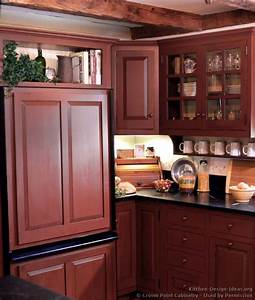 pictures of kitchens traditional red kitchen cabinets With kitchen colors with white cabinets with early american wall art