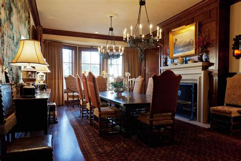 dining room  fireplace  homes   rich