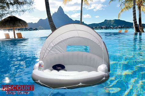 Intex Inflatable Floating Lounge Canopy Chair Island Raft