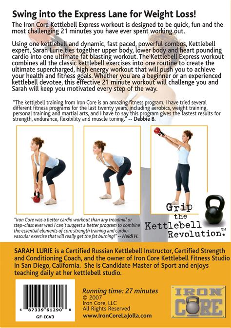 kettlebell core iron express dvd workout lane swings fast into prweb 2008