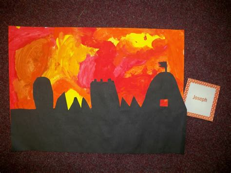 hedgehogs great fire  london silhouette paintings