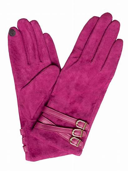 Gloves Suede Buckle Strap Dents Touchscreen Pink