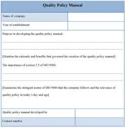 Quality Policy Manual Template