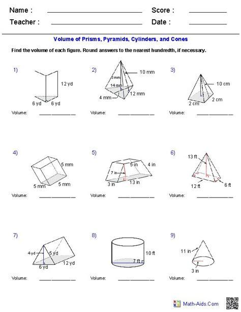prisms pyramids cylinders cones volume worksheets