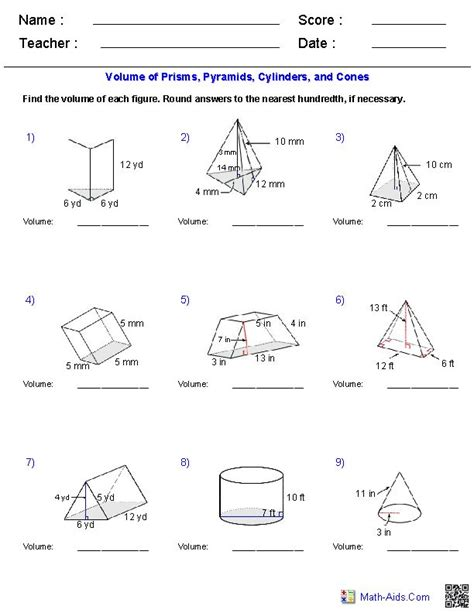 Prisms, Pyramids, Cylinders & Cones Volume Worksheets  Mathaidscom  Pinterest  Cone Volume