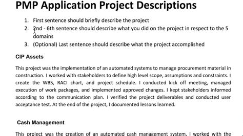 how to write pmp application descriptions exles
