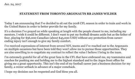 Argos Rb James Wilder Jr. Issues Statement, Says He Won't