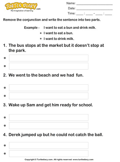 split sentences  conjunctions   worksheet