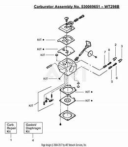 Poulan Bc3100 Gas Trimmer Parts Diagram For Carburetor Assembly - Wt298b  N 530069651