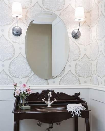 Powder Half Bathroom Galbraith Lotus Bottom Mirror