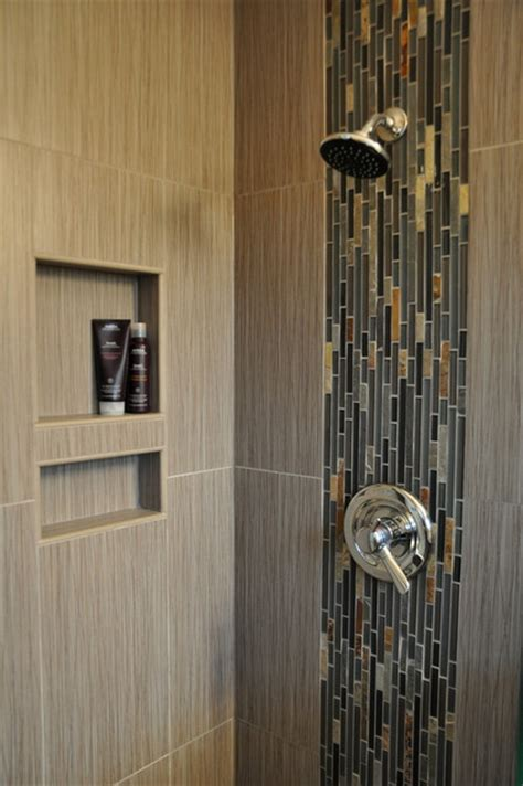 waterfall shower accent modern bathroom other metro
