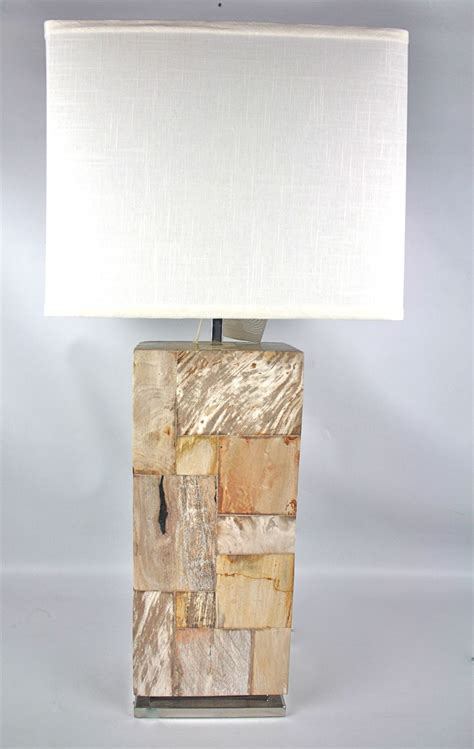 Petrified Wood Lamp on Steel Base - Indonesian Lighting