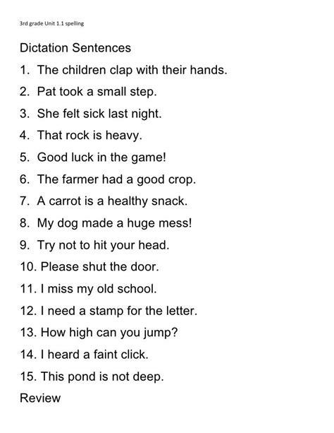3rd grade unit 1 1 spelling dictation sentences 1 the